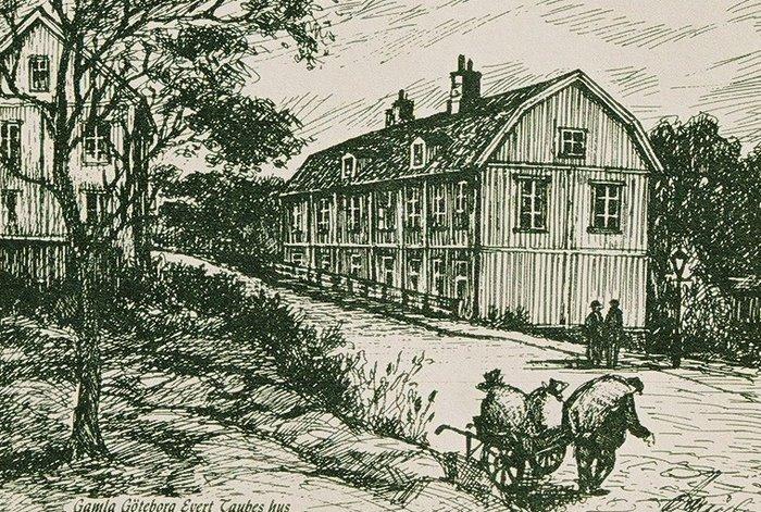 Teckning av huset på ursprunglig plats